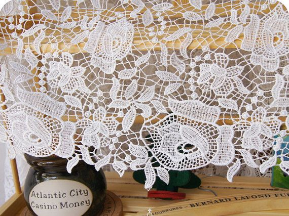 lace fabric  wedding dress fabric  3D crochet by StarryFashion, $20.00