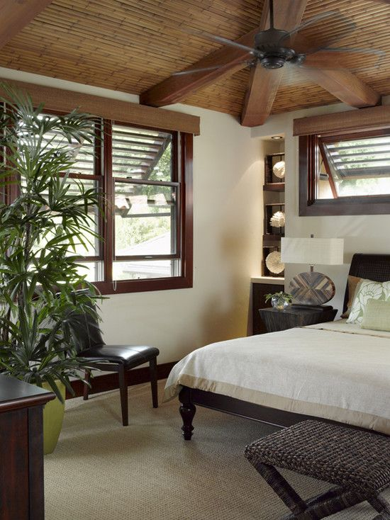 Tropical Bedroom Window Treatments Design Pictures Remodel