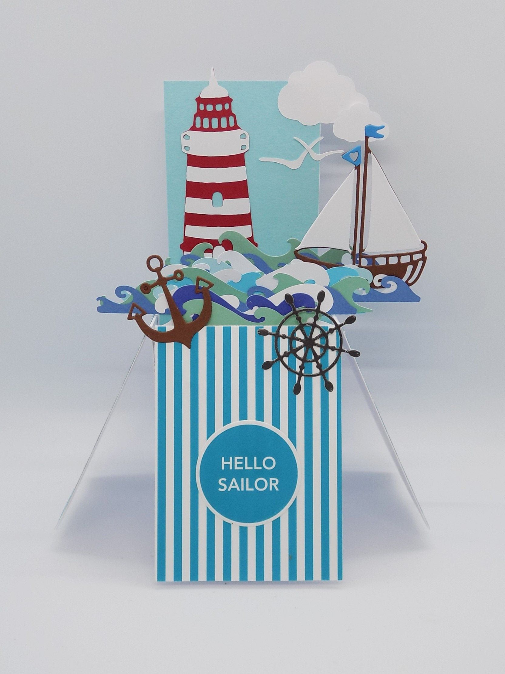 Pop up Sailing greetings birthday Thank you unique
