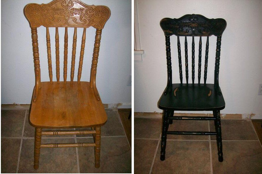 Superior Before And After Picture: Antiqued Oak Chair Done In Black Oak