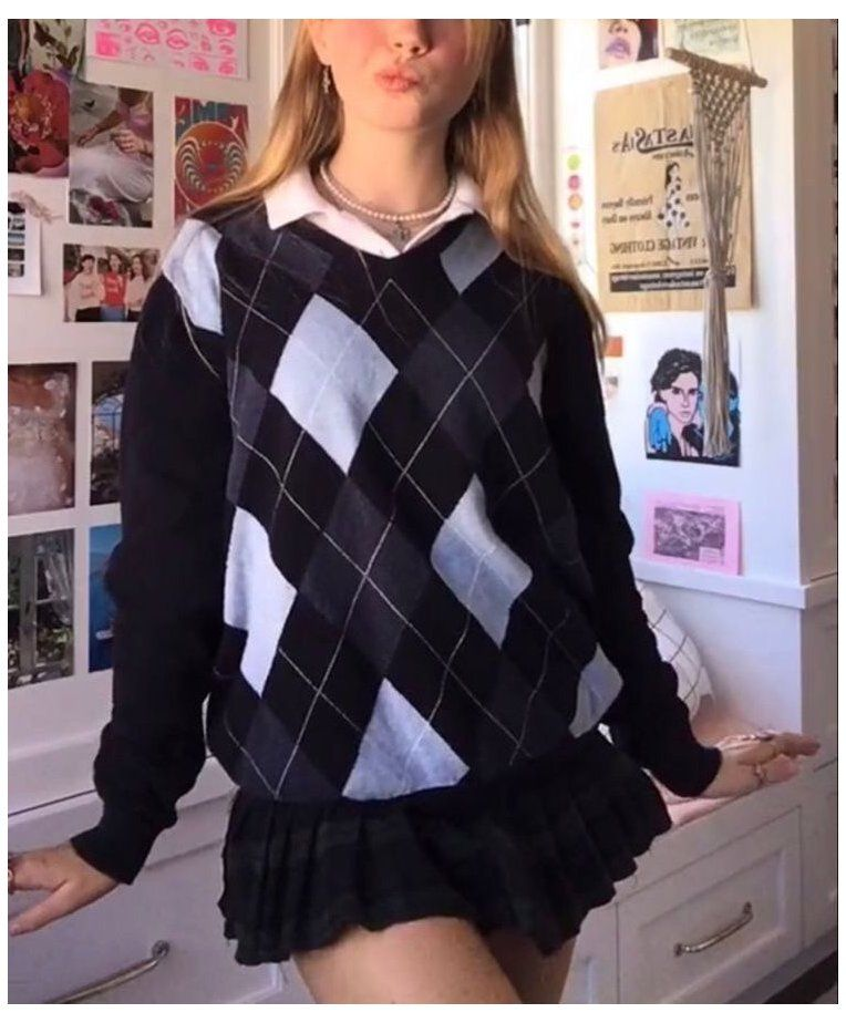 Skirt And Sweater Outfit Casual Argyle Sweater Crew Neck Collar Tennis Skirt Aesthetic Y2k P In 2020 Fashion Inspo Outfits Cute Casual Outfits Tennis Skirt Outfit