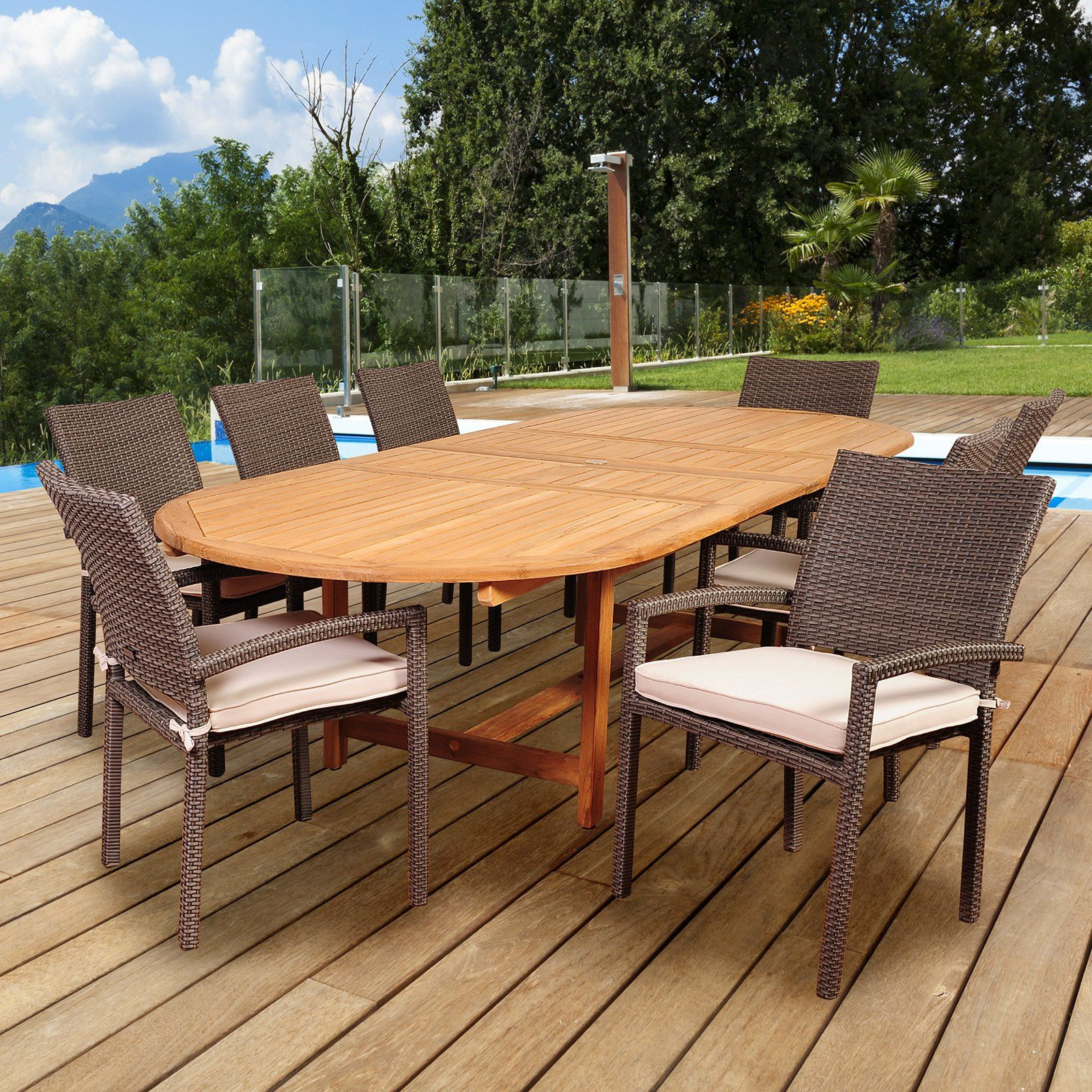 Vermont Extendable Garden Table And Chair Set: Outdoor Amazonia Indianapolis 9 Piece Double Extendable