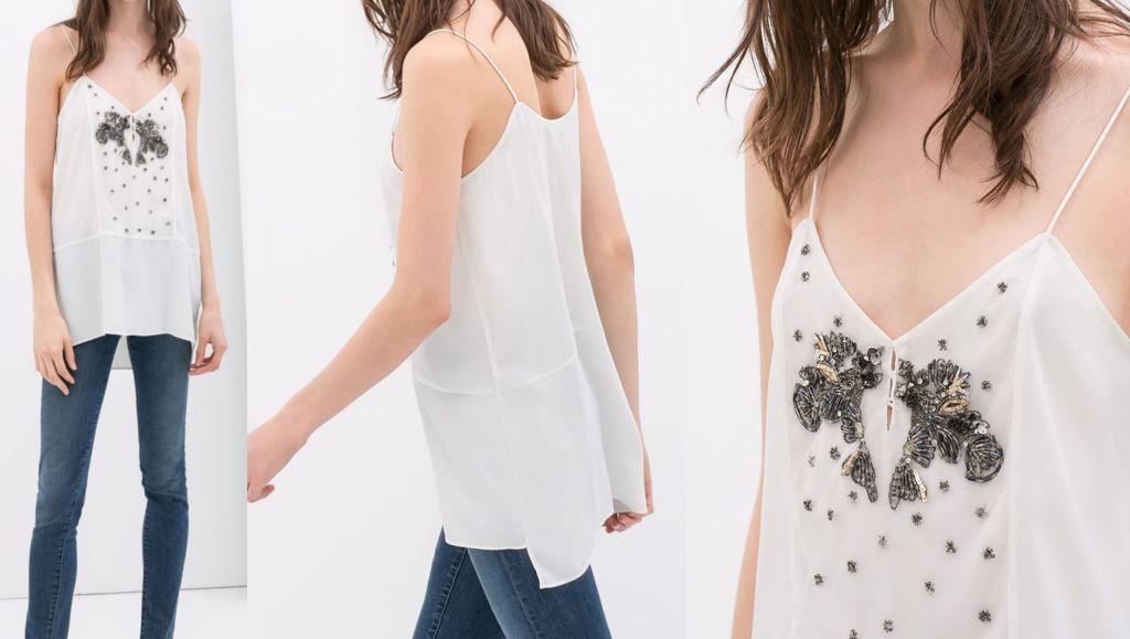 Zara Basic 34 Xs Zdobiona Bluzka White 6689448904 Oficjalne Archiwum Allegro Zara Basic Clothes Zara