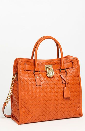 Michael Kors Hamilton Large Woven Leather Tote Available At Nordstrom