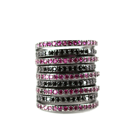 Cylinder Pink & Black Ring – Andreia Fuzon Jewelry