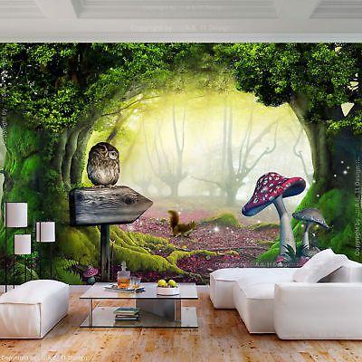 Vlies Fototapete Wald Fantasy Mehrfarbig Pilz Tapete Kinderzimmer