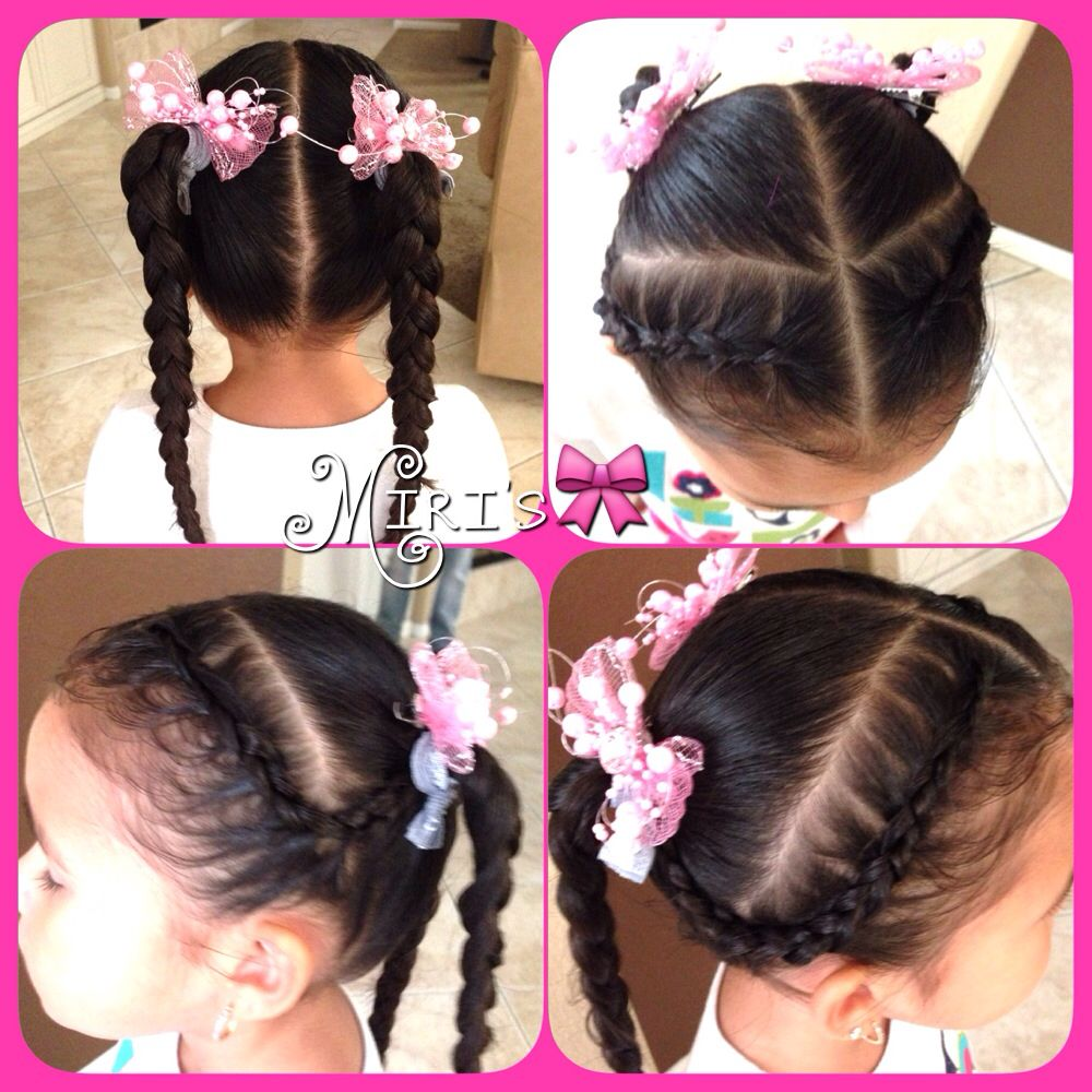 Two Braids And Two Ponytails Hair Style For Little Girls Hair Styles Ponytail Hairstyles Olive Hair