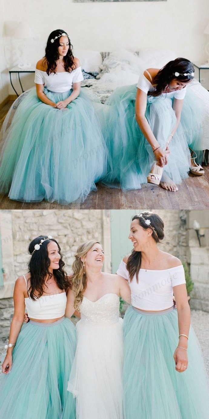 Fashion long two pieces blue tulle bridesmaid dressformal evening