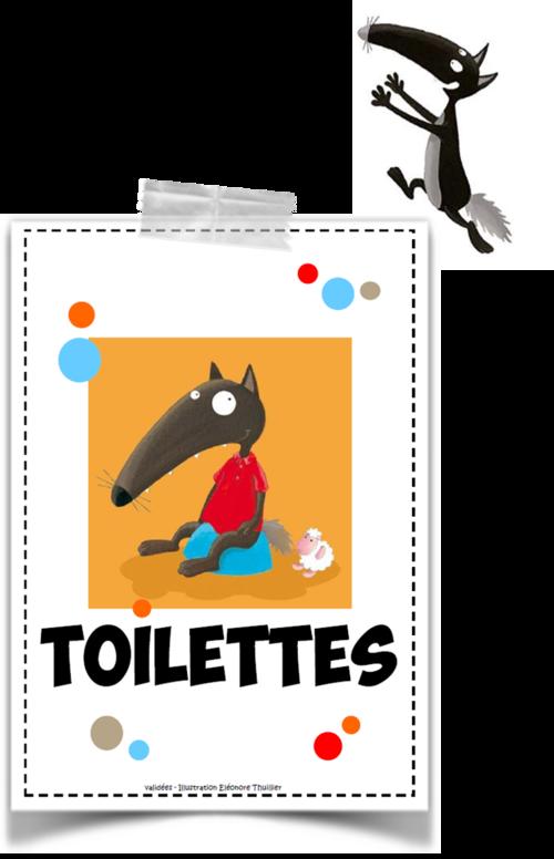 Gestion des toilettes avec Loup Proprete enfant, Loup