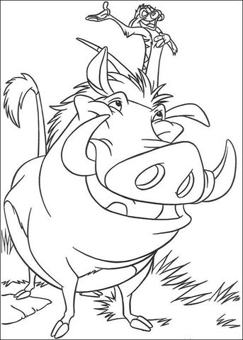 Timon And Pumbaa Coloring Page From The Lion King Category Select From 24848 Printable Crafts Of Cartoons Lion Coloriage Coloriage Le Roi Lion Dessins Disney
