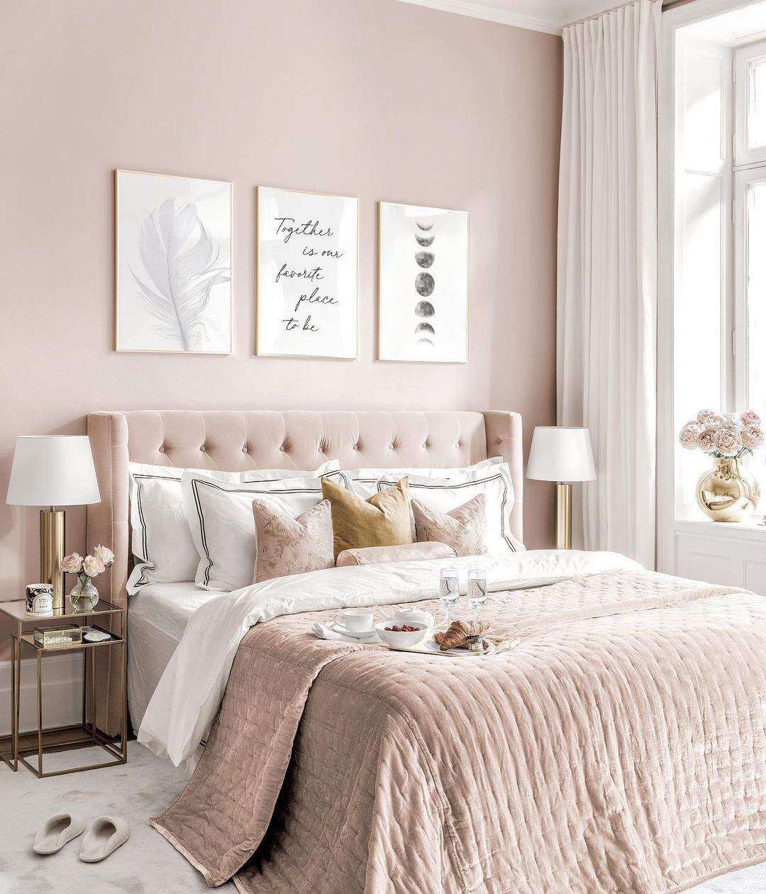 Above Bed Decor High Quality Set Of 3 Pieces Wall Art Feather Wall Art Sacred Moon Phases Print Above Bed Art Together Bedroom Decor Classy Bedroom Pink Bedroom Decor Above Bed Decor Newest pastel pink bedroom