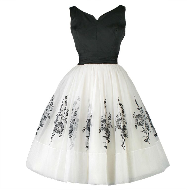 Vintage 1950\'s White Chiffon Flocked Floral Cocktail Dress | Vintage ...