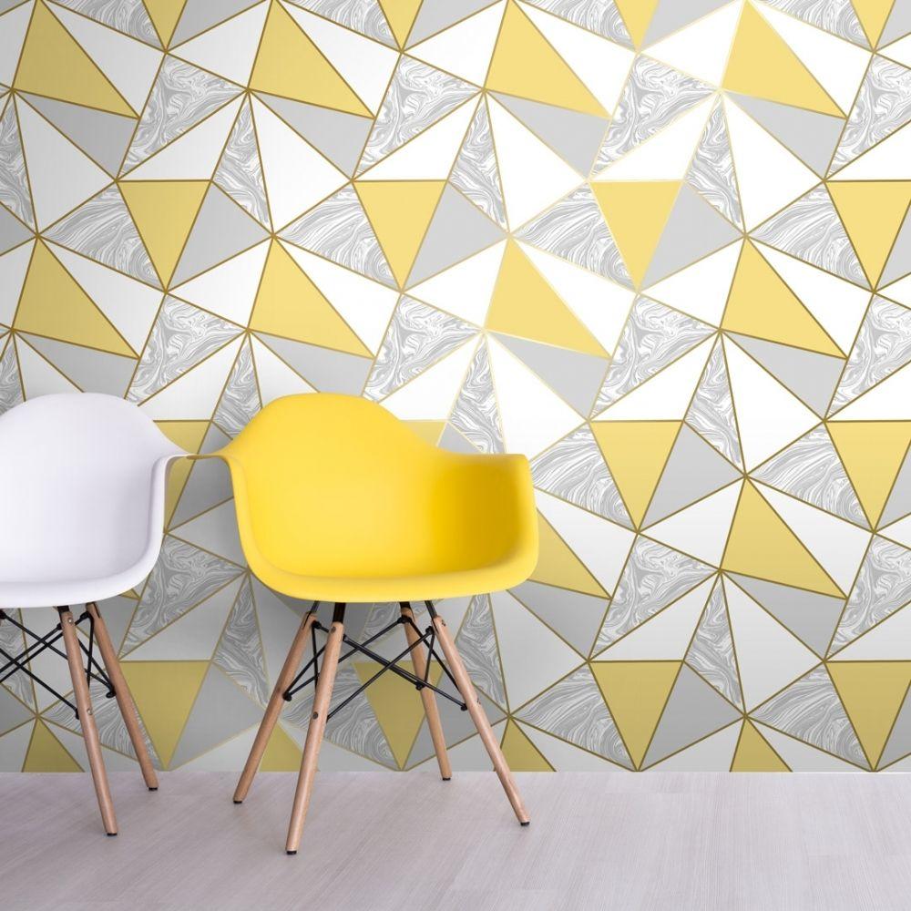 Zara Marble Metallic Wallpaper Mustard Gold Metallic