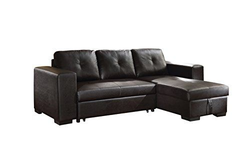 Acme Lloyd Black Faux Leather Sectional Sofa With Sleeper Home