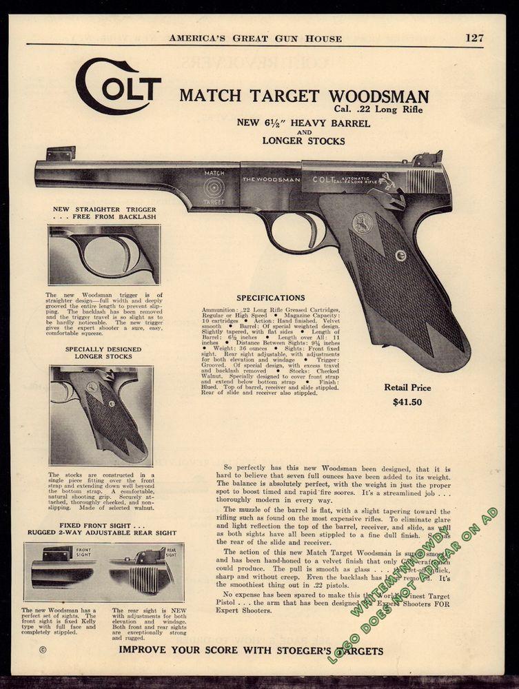 1940 COLT Match Target Woodsman  22 Long Pistol AD w/specs