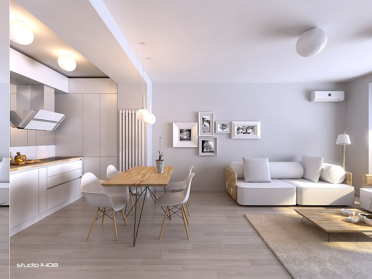 White is often considered the supreme color choice for a modern and minimal design and this living space exemplifies that the wood used is in a very light