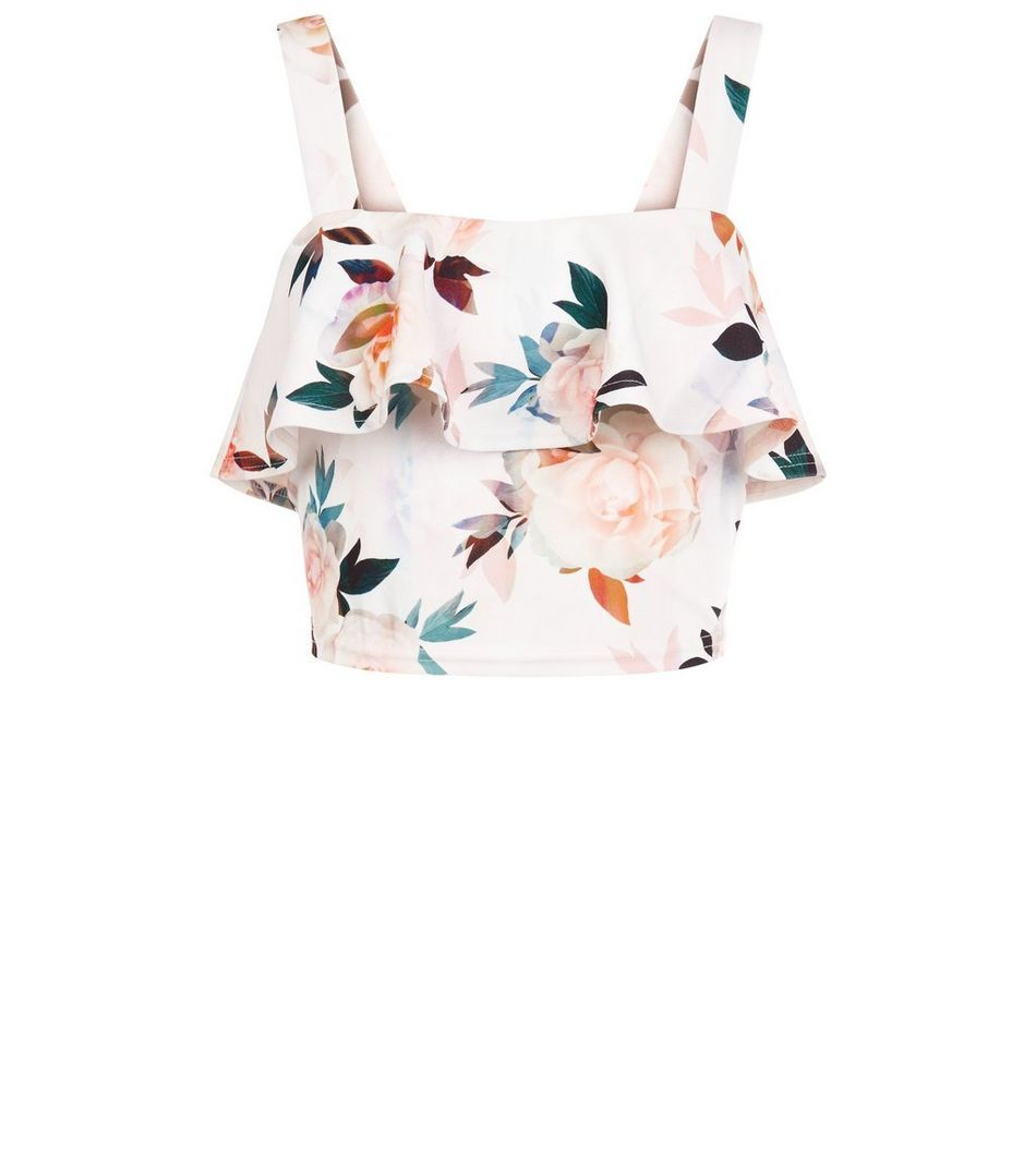 Petite White Floral Print Frill Crop Top Floral Printing And