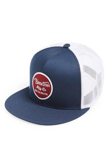 7c6cc96ef715a Men s Brixton  Wheeler  Mesh Trucker Cap - Blue Trucker Hats