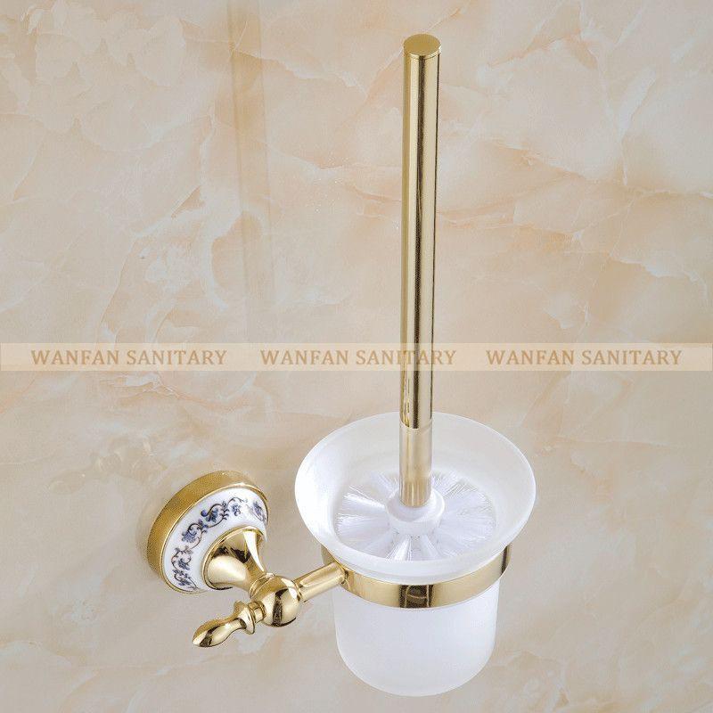 Buy Blue White Porcelain Bathroom Accessories Brass Gold Toilet
