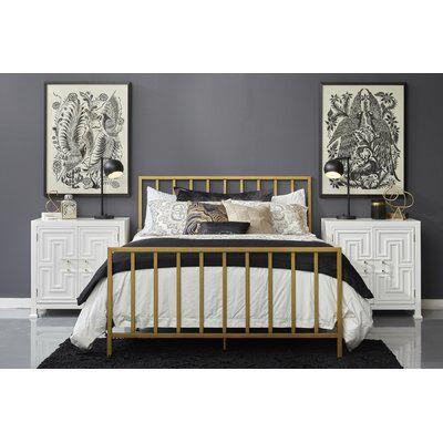 Ackles Slat Metal Queen Panel Bed Queen Metal Bed Gold Bed