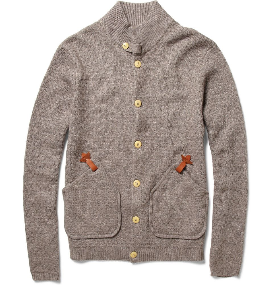 Bobby Waffle-Knit Cardigan by Folk, the button stitching spells out the label's name...craft is all in the details!