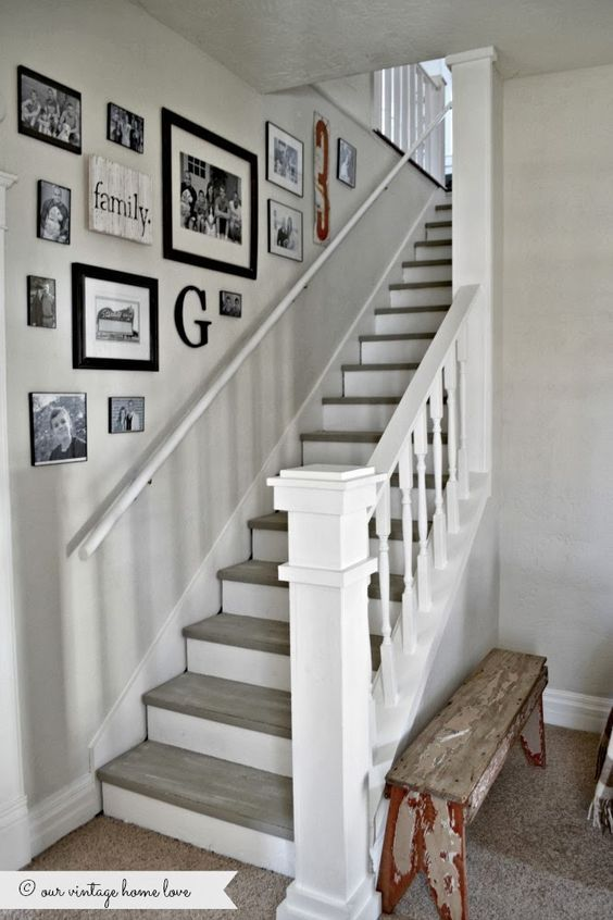 our vintage home love: Stairway Renovation, love the color of the stairs