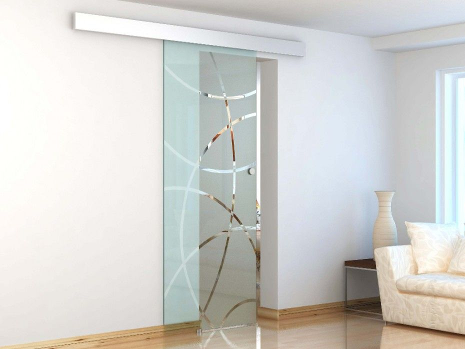 Porte coulissante en applique heidi h205 x l83 cm verre tremp 8mm ouve - Porte coulissante salon ...