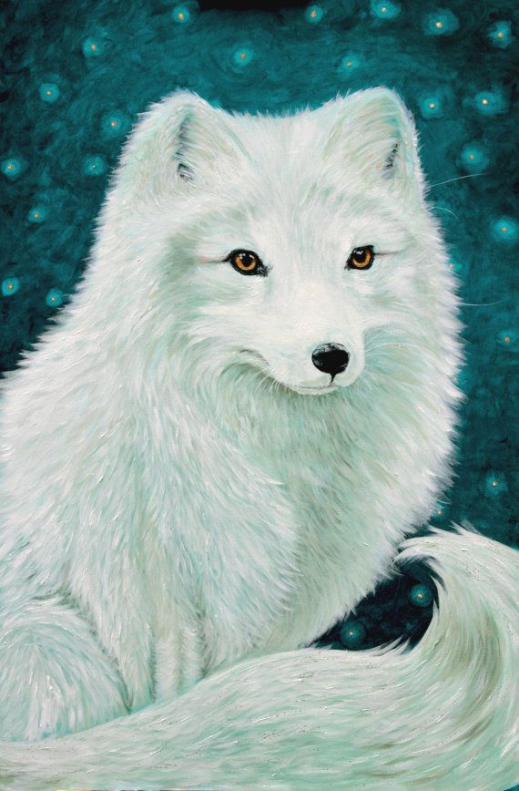 Fox Art Arctic Fox Print White Fox Art Teal Decor With Images Fox Artwork Fox Art Fox Painting