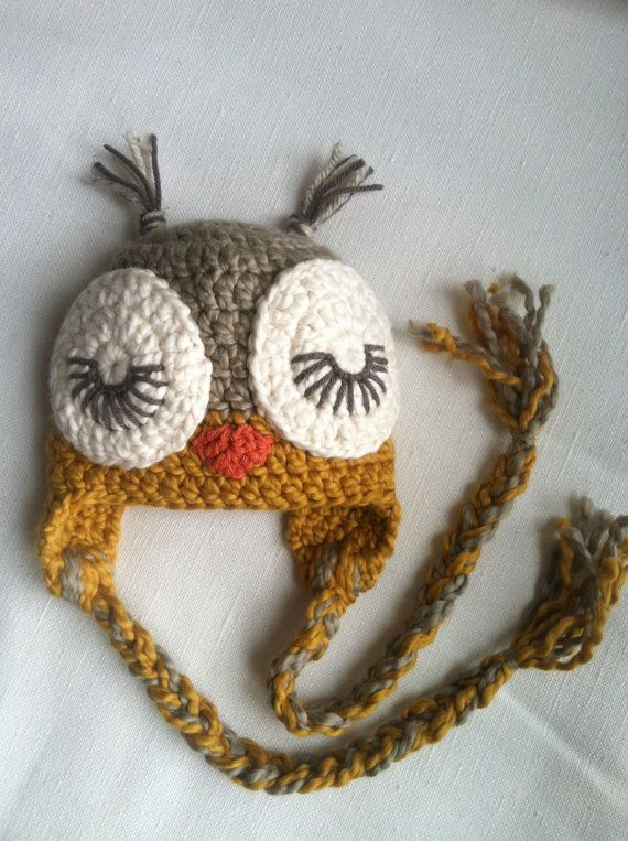 Organic Sleepy Owl Crochet Earflap Hat - Photo Prop - Organic Cotton ...