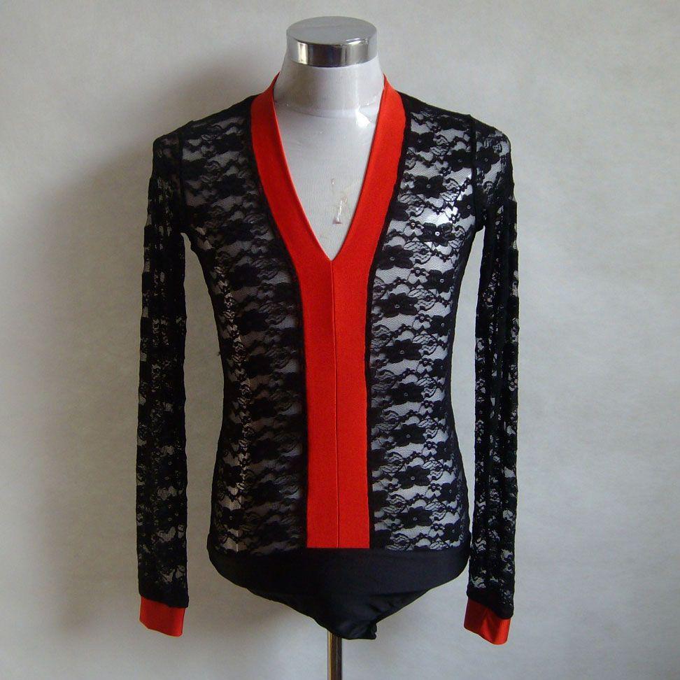 Click to buy ucuc v neck men ballroom latin body shirt rhinestone long