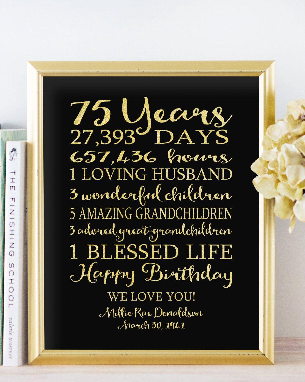 75th BIRTHDAY Sign Birthday GIFT Personalized By PrintsbyChristine