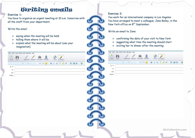 Writing Emails Worksheet