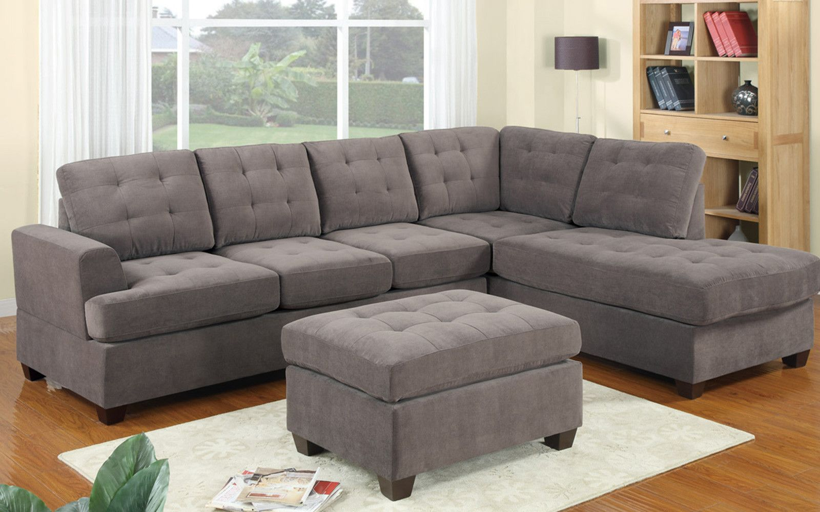 Grey Microfiber Sectional Sofa For Living Room In 2020 Sectional Sofa Couch Modern Sofa Sectional Grey Sectional