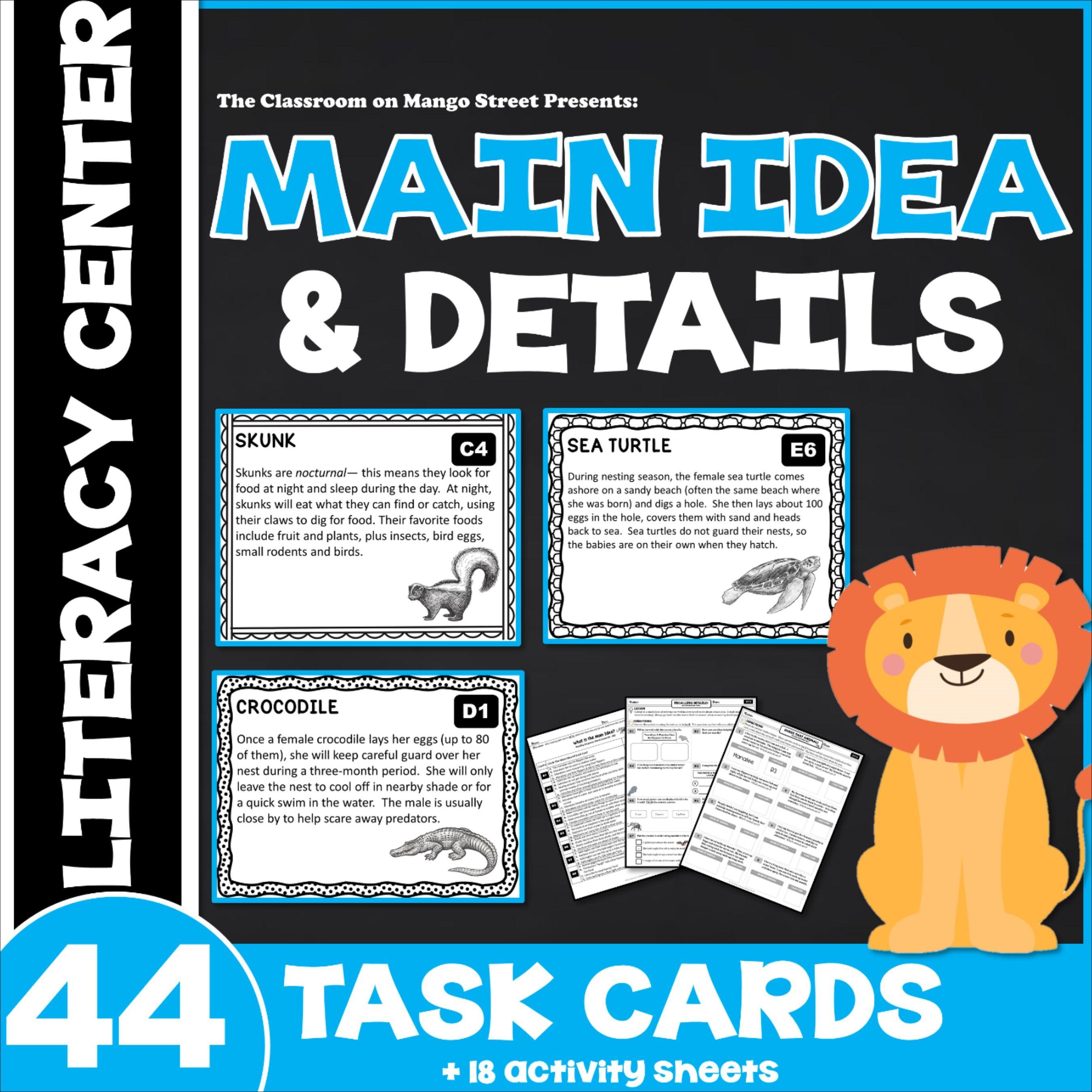 Main Idea Amp Details Literacy Center For Grades 3 5