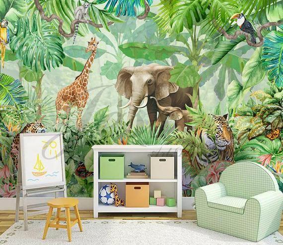 3d Nursery Kids Animals Elephant Giraffe Removable Wallpaper Peel Stick Wall Mural Wall Art Wall Decal Kids Nursery Wall Sticker L7 Kids Wall Decals Removable Wallpaper Wall Murals
