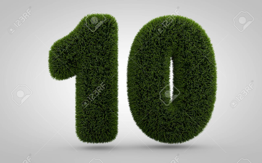 Green Grass Number 10 Isolated On White Background 3d Rendered White Background Green Grass Background