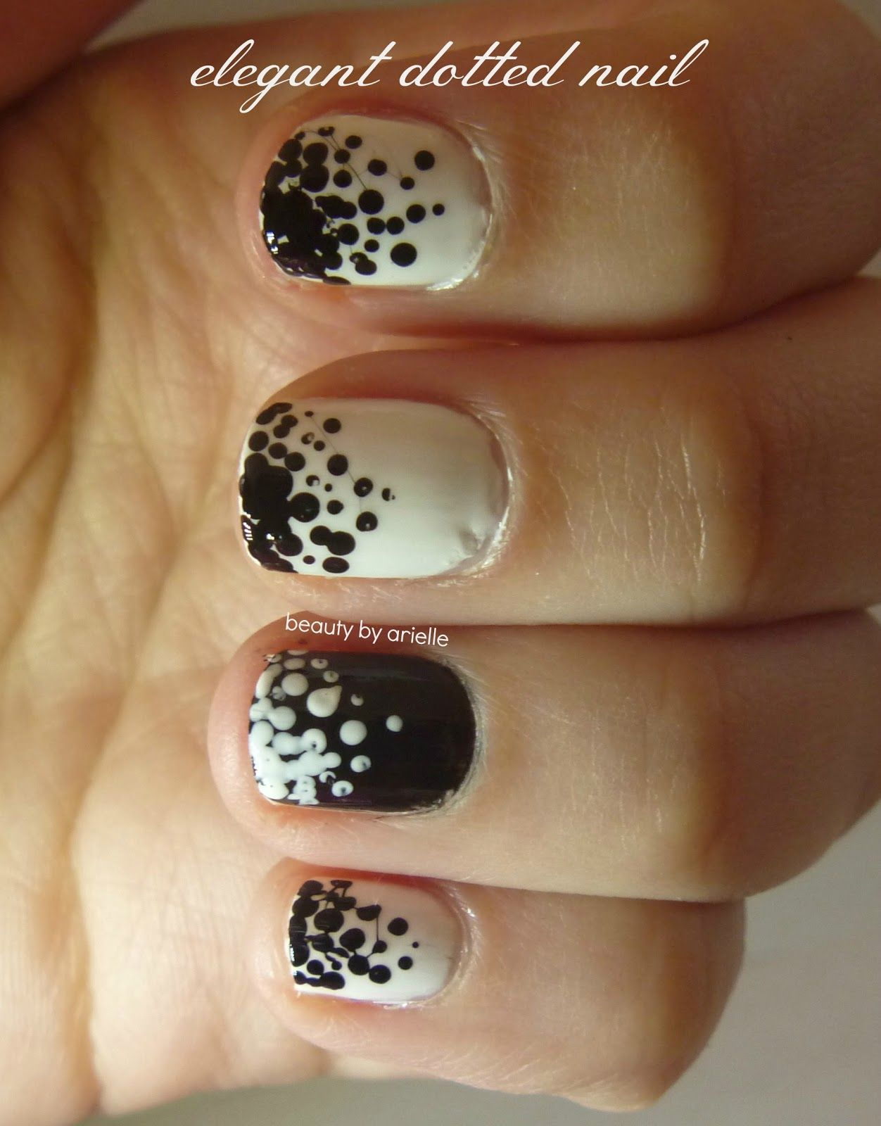 Black and white polka dot nails. Tutorial included! via @Beauty by ...