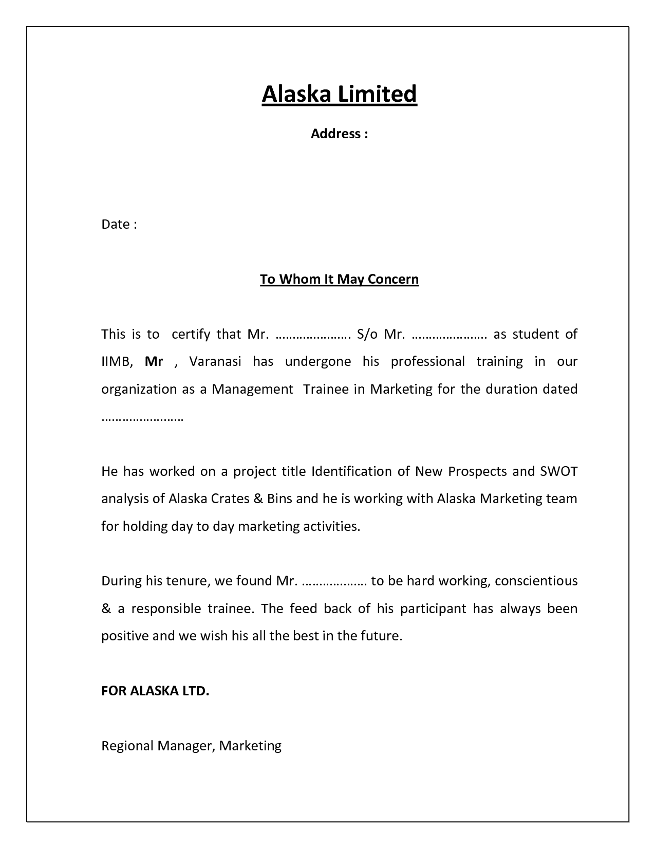 Sample internship certificate letter danal. Bjgmc-tb. Org.