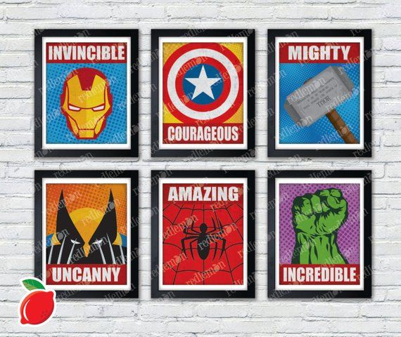 Marvel Comic Book Superhero Icons Print FULL SET in 2018 Products