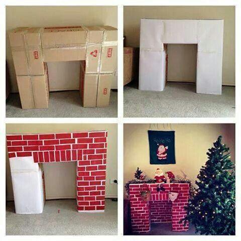 Chimenea con cajas de cartón