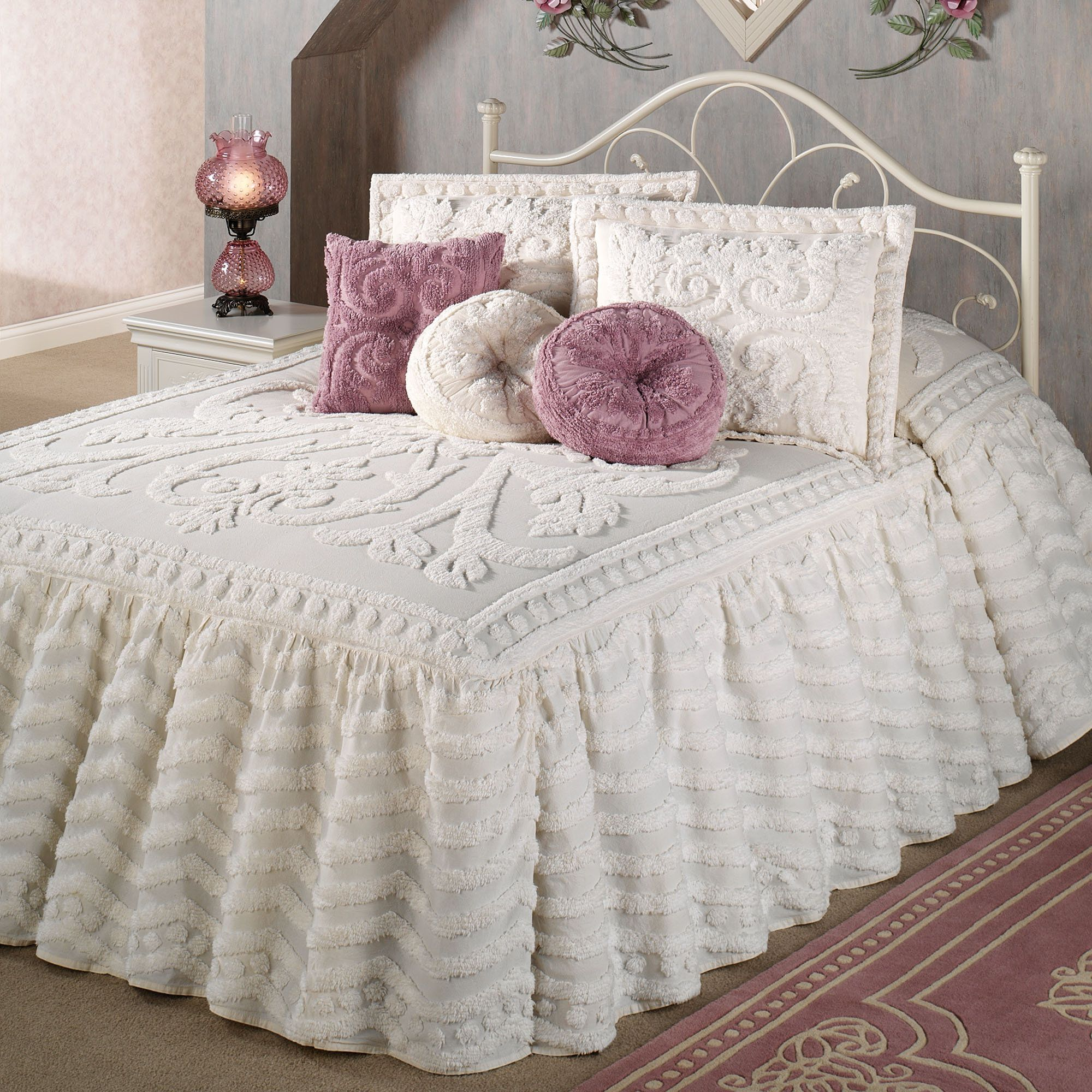 Intrigue chenille ruffled flounce oversized bedspread for Chenille bedspreads