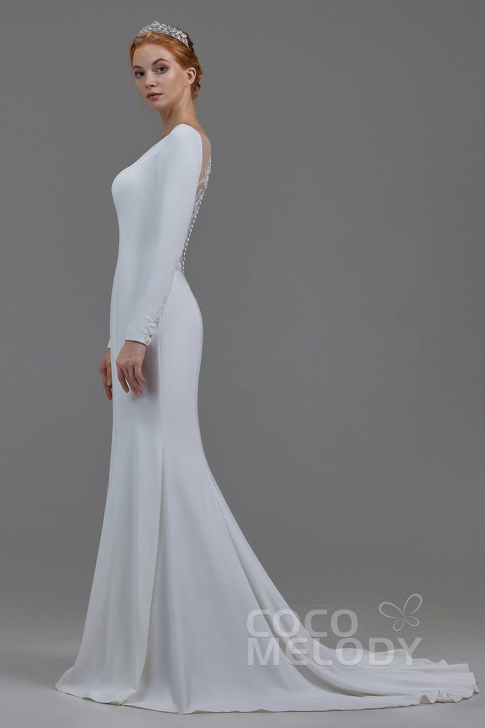 36d2ebff0 Trumpet-Mermaid Bateau Knitted Fabric Wedding Dress #LD5817 | Cocomelody  #cocomelody #weddingdress #mermaidweddingdress #2019newcollection