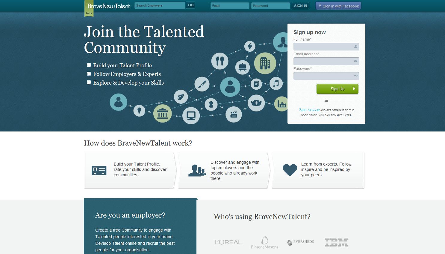Website for social recruitment network, Brave New Talent www ...