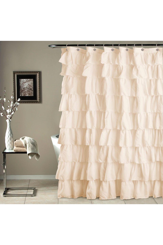 Lush Decor Ruffle Shower Curtain In Ivory Ruffle Shower
