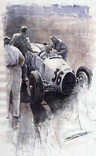 Auto Union type B 1935 Italian GP Monza , Auto Union, Aquarel - Automotive art