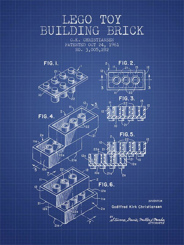 Lego toy building brick patent from 1961 blueprint art print by lego toy building brick patent from 1961 blueprint art print by aged pixel malvernweather Image collections