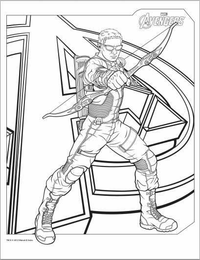 Avengers Hawkeye Coloring Page Adult coloring pages Pinterest