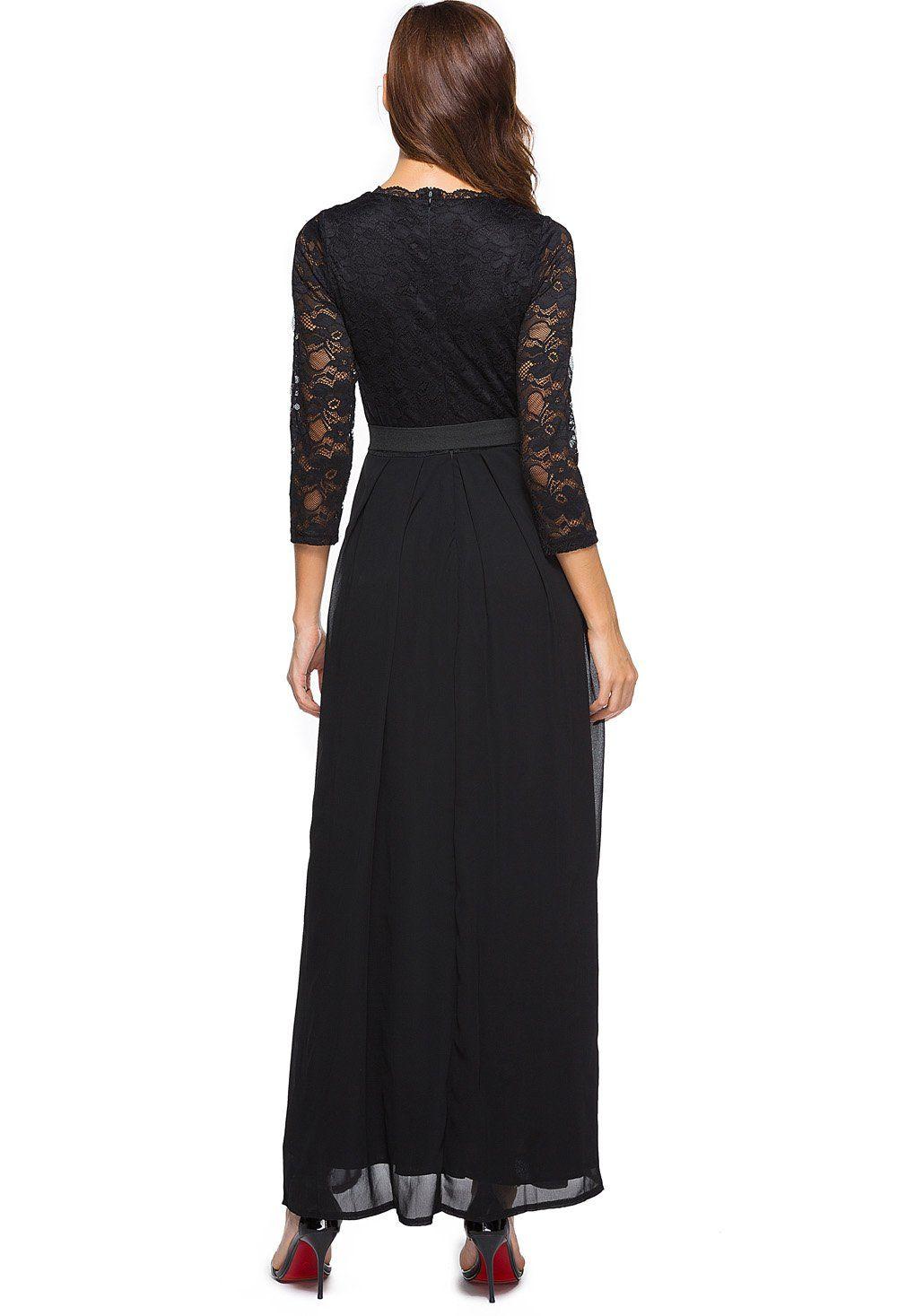 Berydress womens aline vneck sleeve floorlength chiffon lace