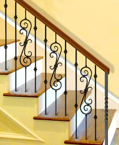 Staircase design pattern with long decorative iron scroll ...