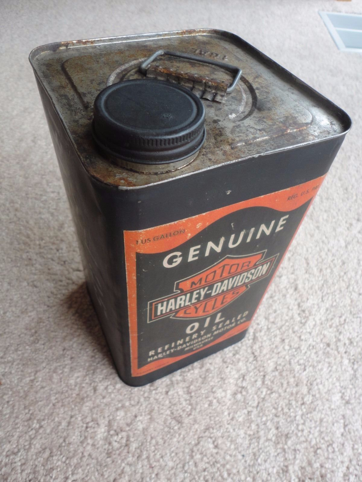 Antique Harley Davidson Motor Oil Can Gas And Oil